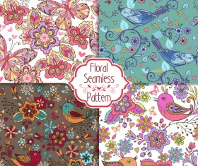 set of colorful seamless patterns with birds and butterflies flowers vector