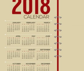 simple 2018 calendar template vector set 01