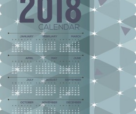 simple 2018 calendar template vector set 02