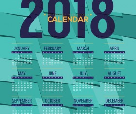 simple 2018 calendar template vector set 03