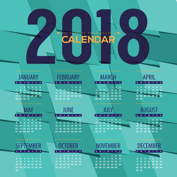 simple 2018 calendar template vector set 03