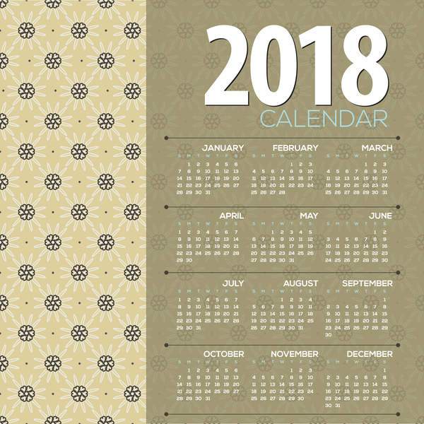 simple 2018 calendar template vector set 04
