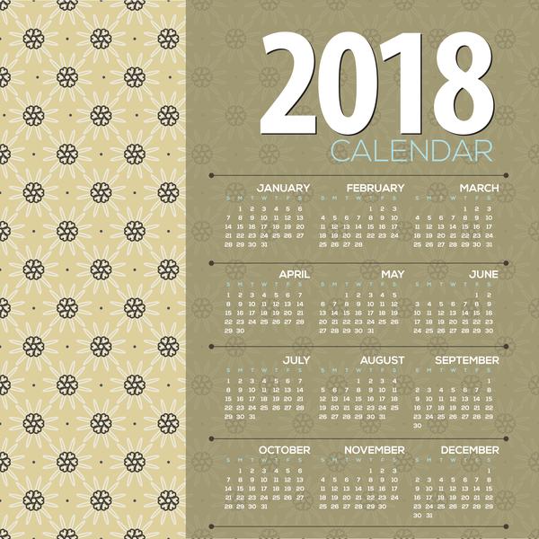 simple 2018 calendar template vector set 04