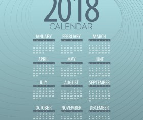 simple 2018 calendar template vector set 05
