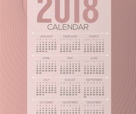 simple 2018 calendar template vector set 06