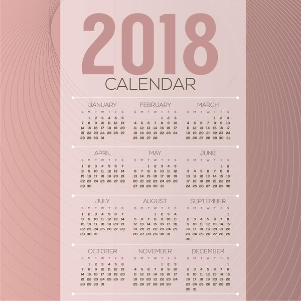 simple 2018 calendar template vector set 06