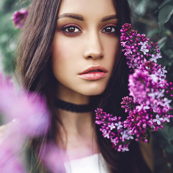 smiling woman with flowers Stock Photo 02