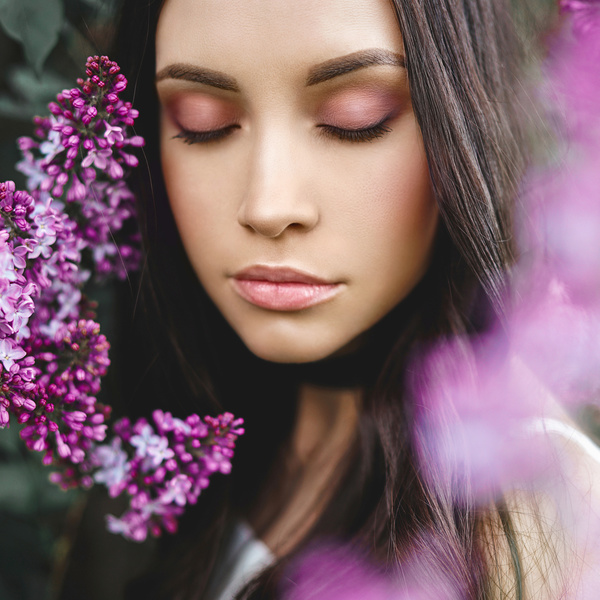 smiling woman with flowers Stock Photo 03