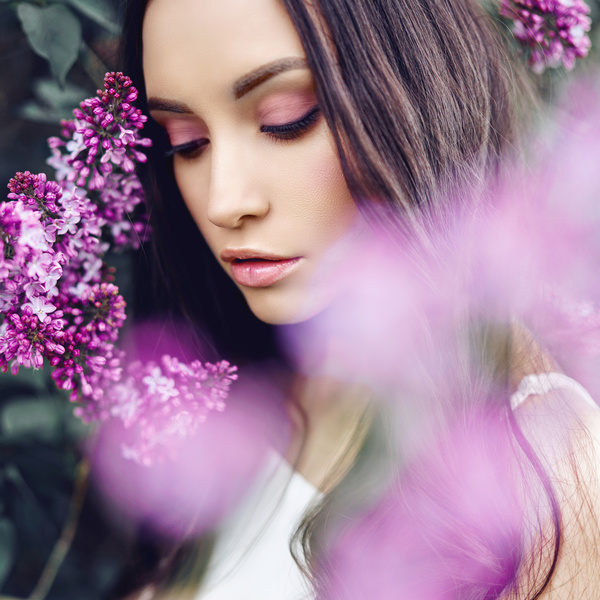 smiling woman with flowers Stock Photo 04