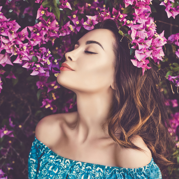smiling woman with flowers Stock Photo 08