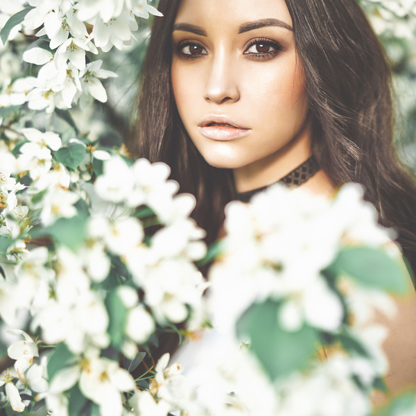 smiling woman with flowers Stock Photo 10