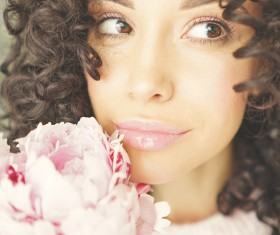 smiling woman with flowers Stock Photo 12