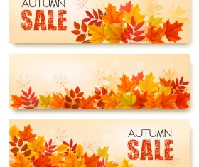 three nature sale autumn banners with leaves vector