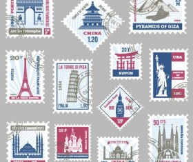 tower postage stamps template vector