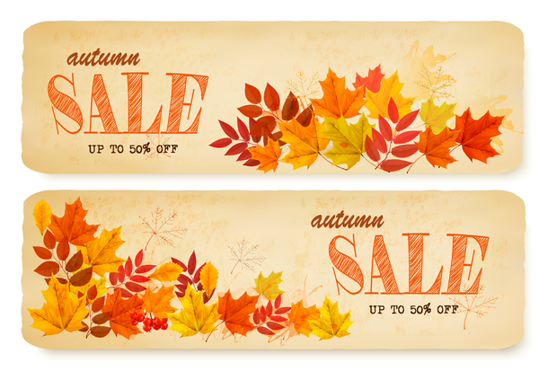 two sale autumn banners with leaves vector
