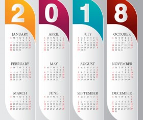 vertical calendar 2018 card vector