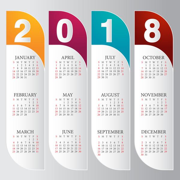 2018 calendar vertical