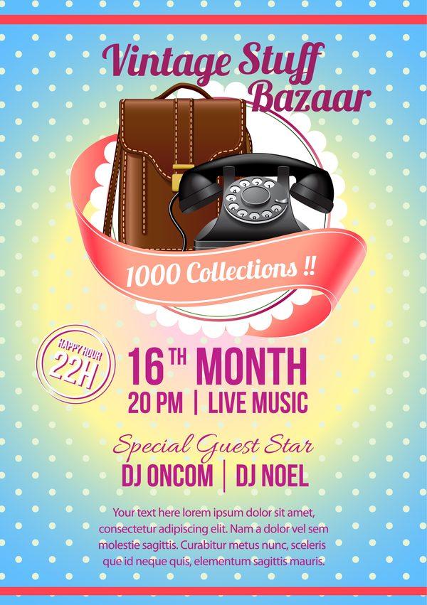 vintage stuff bazaar flyer template vector free download