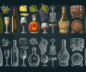 wine brandy vintage illustration vector