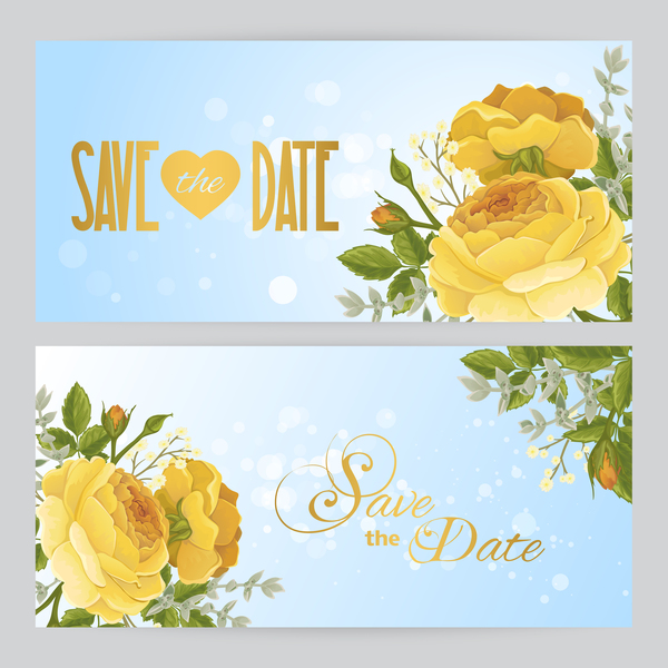 yellow flower with invitation vector template