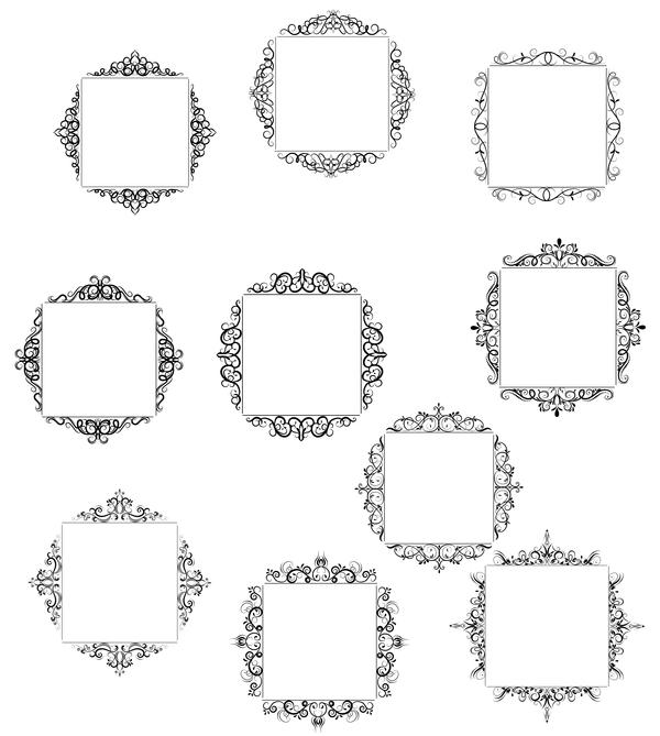 10 Kind decor frame retro vector