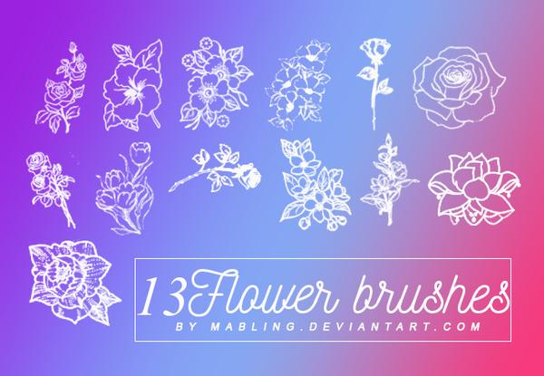 13 Kind Flower Photoshop Brushes