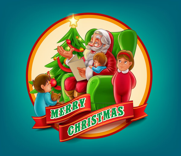 2017 christmas card with blue background vector