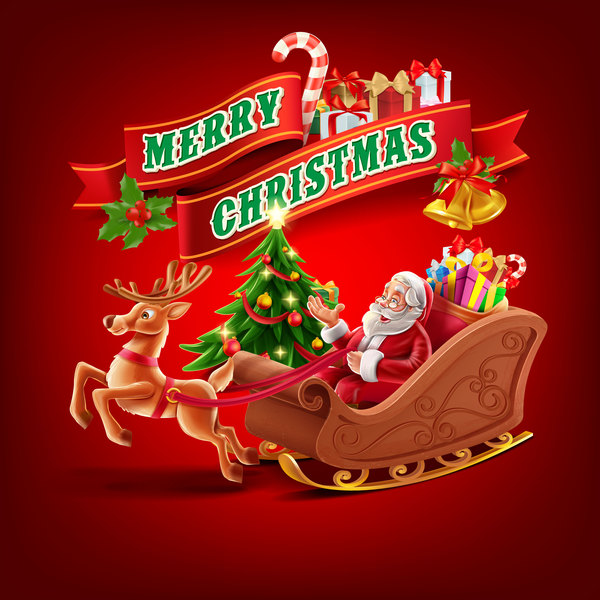 2017 christmas red backgorund vector