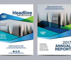 2017 company flyer template blue vector 01