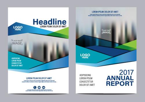 2017 company flyer template blue vector 01