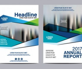 2017 company flyer template blue vector 02