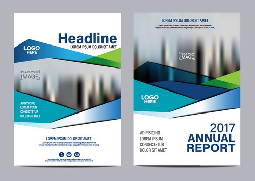 2017 company flyer template blue vector 02