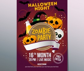2017 halloween night poster vector template