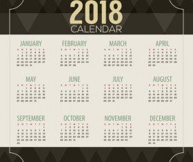 2018 calendar template with black polygon background vector