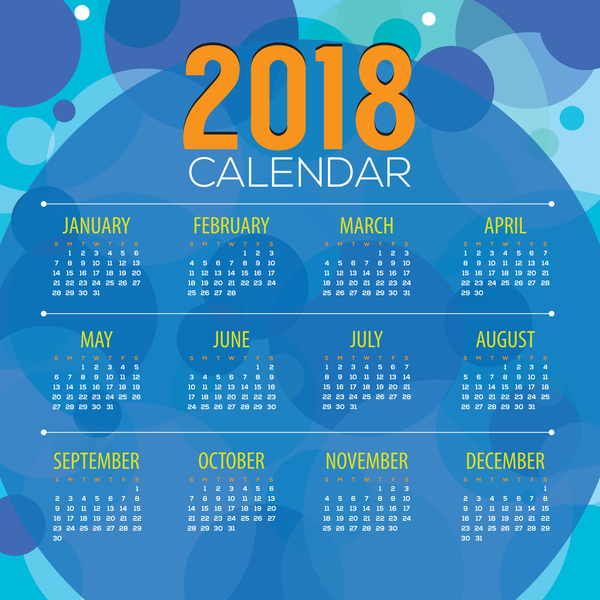2018 calendar with blue abstract background vector
