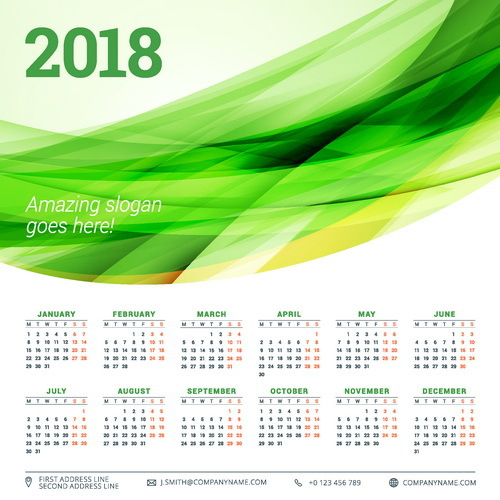 2018 calendar with green abstract background vector