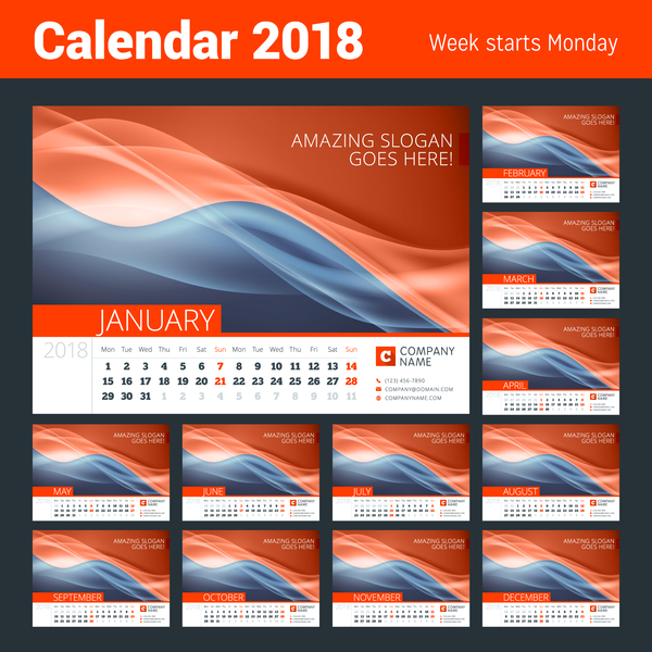2018 calendar with red abstract background vector
