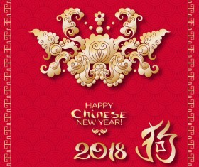 2018 chinese new year of dog year design vector 02