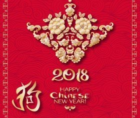 2018 chinese new year of dog year design vector 04