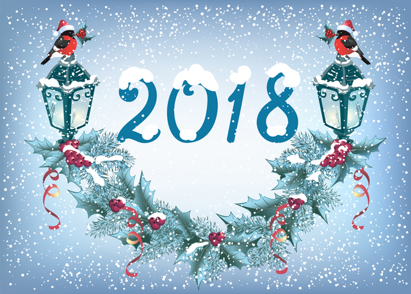 2018 christmas background with snowflake vector 01