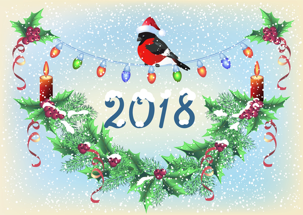 2018 christmas background with snowflake vector 03