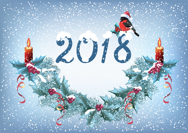 2018 christmas background with snowflake vector 04