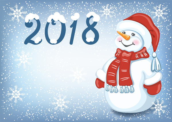2018 christmas background with snowman vector
