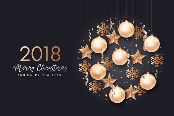 2018 merry christmas with new year design vector