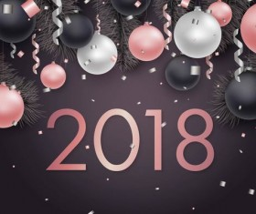 2018 new year dark background with confetti festival vector 02