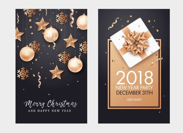 2018 new year party card with flyer vector
