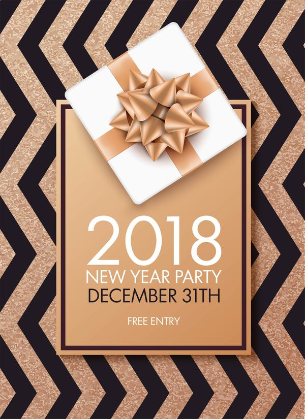 2018 new year party invitation card with bow vector
