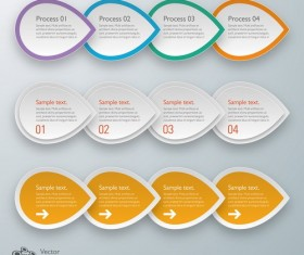 3D paper infographic template vectors material 07