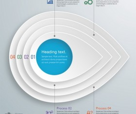 3D paper infographic template vectors material 13