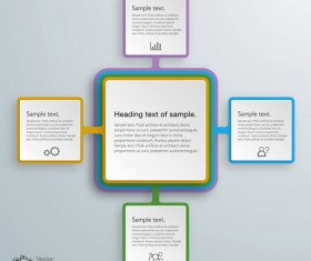 3D paper infographic template vectors material 14